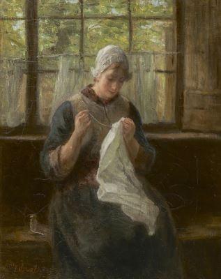 Jozef Israels (Groningen 1824-1911 Den Haag) Handwerken bij het raam - Kunsthandel Simonis en Buunk, Ede (Nederland).