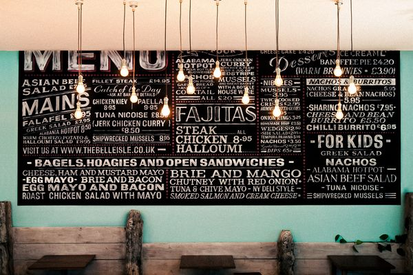 """THE BELLE ISLE by Paul Taylor    A HUGE typography piece and focal point in the """"Belle Isle"""" restaurant."""