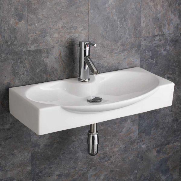 Wall Hung Bathroom Basin Modern Bowl Design Large 690mm X 340mm
