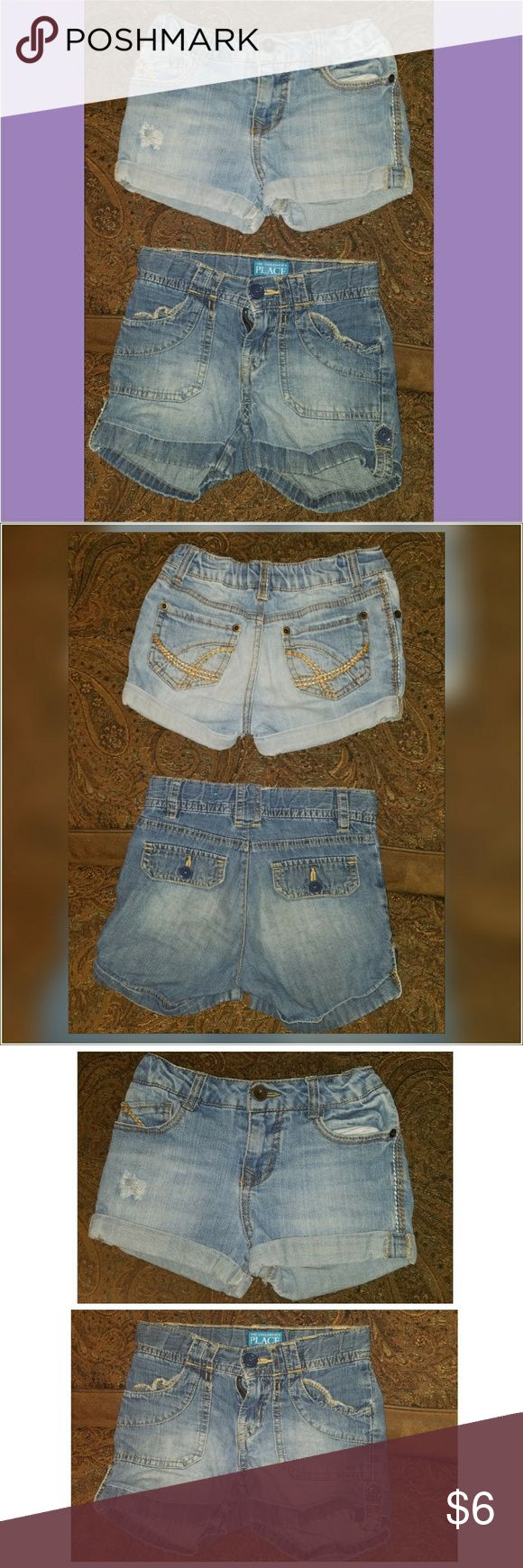 """Bundle of 2 Girls Denim  Jean Shorts 6 & 6/6x 2 Pairs Of Girls Jean Shorts?  *The darker pair is from Children's Place, size 6. Made of soft, lightweight cotton. Button tab at bottom of leg allows you to roll them up or down.?  *Lighter pair is Cherokee brand size 6/6x. Adjustable tabs inside for a perfect fit. Have an intentional vintage look with some """"frayed"""" areas.?  Both pair of shorts is in Good pre-owned condition with no stains or defects. May have some stray threads, etc from normal…"""