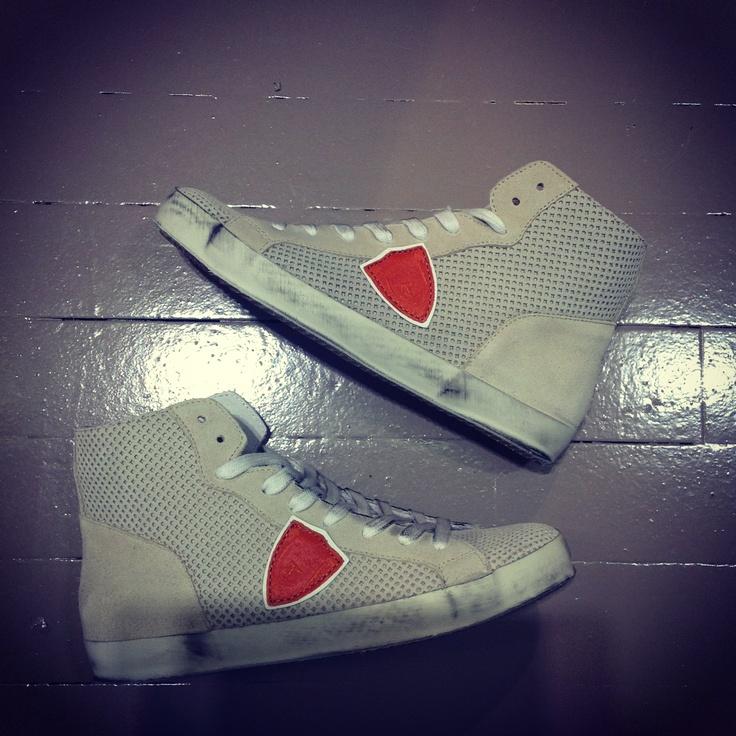 PHILIPPE MODEL HIGH forato suede sneaker  http://www.montenapoleoneluxury.com/prodotti/philippe-model/3924495/