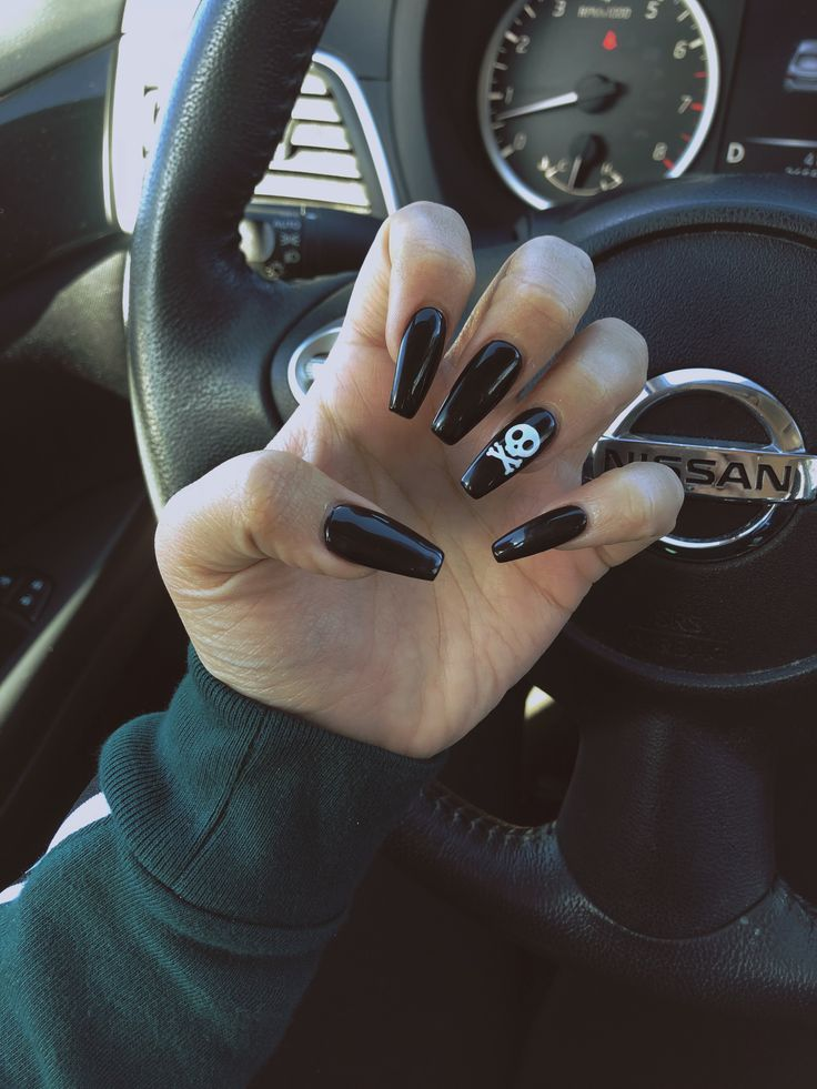 Halloween nails! Skeleton accent on black nails. Coffin ...
