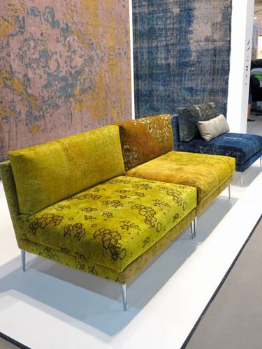 Golran Italian carpet company Golran has taken carpets off the floor and onto furniture! I love over-dyed vintage rugs, so this furniture hits just the right note for me. Great shapes, great colors, and great patterns. What more is there?