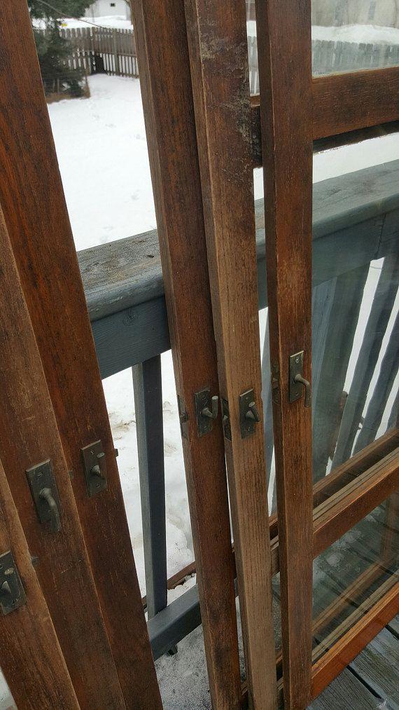 Old Wood Cabinet Doors, Original, Antique, Cupboard Doors, Architectural Salvaged, Pantry, Hardware, Hinges, Oak, Pane Windows, Wood, Home