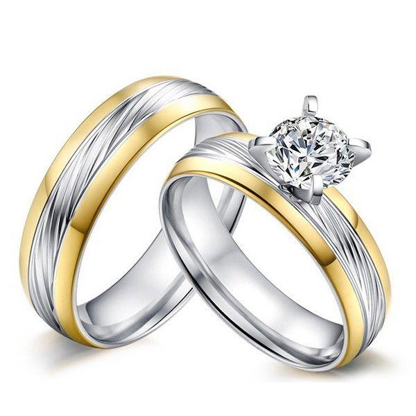 Jeulia Love - Coppia di anelli Lui e Lei in Acciaio e Titanio