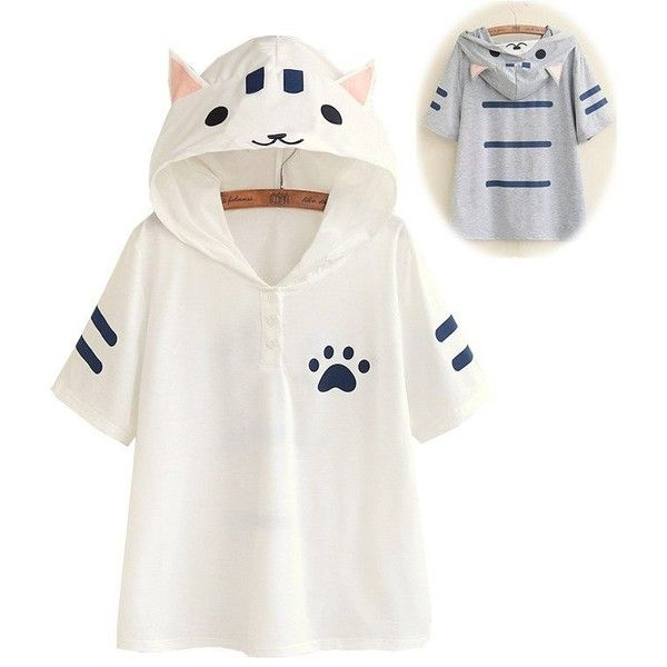 White/Gray Kawaii Cat Summer Hoodie Shirt SP166968 (47 AUD) ❤ liked on Polyvore featuring tops, hoodies, grey hooded sweatshirt, white hoodie, grey shirt, cat hoodies and grey hoodie