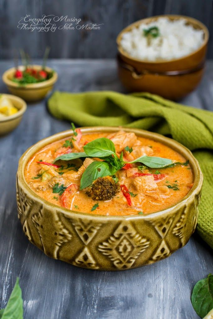 Make a relishing Thai Food at home. Thai Red Chicken Curry is perfect with white rice and tastes wonderfully delicious.