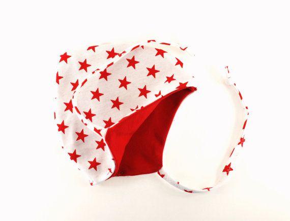 Baby pilot hat cotton beanie white red stars by BabitoKids on Etsy, $15.00