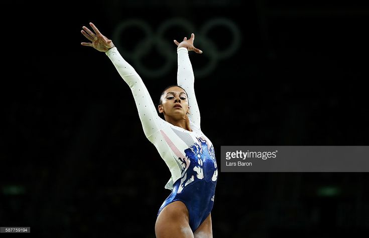 Rebecca Downie of Great Britain reacts competing on the balance beam during the Artistic Gymnastics Women's Team Final on Day 4 of the Rio 2016 Olympic Games at the Rio Olympic Arena on August 9, 2016 in Rio de Janeiro, Brazil.