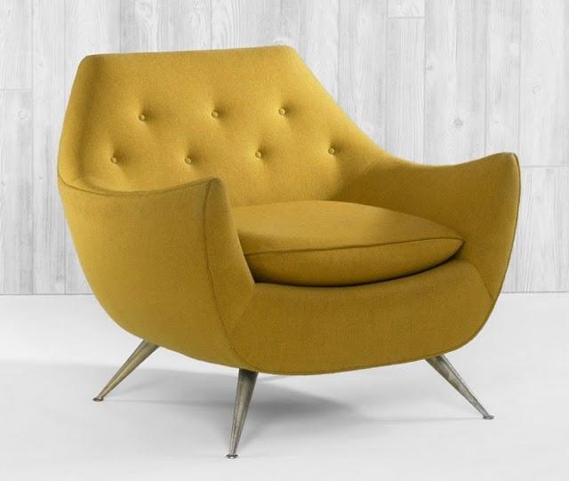 mustard yellow mid century chair
