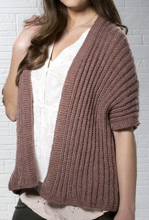 Free Knitting Pattern for 1 Row Repeat Rosy Disposition Cardi - This cardigan wrap is knit with a one row repeat Mistake Rib stitch in worsted weight yarn.Sises XS, S, M, L, XL. Designed by Stitch Studio Design Team
