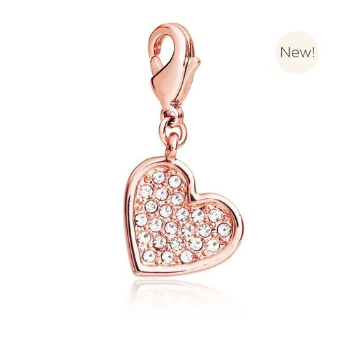 Embellished Heart Charm with Swarovski® Crystals Rose Gold Plated