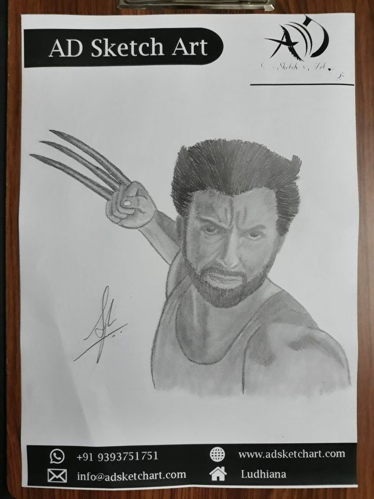 Wolverine contact for personalized sketch visit www adsketchart com or whatsapp 919393751751