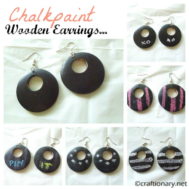Chalkboard paint wooden earrings and wear them in as many creative ways as you want! DRAW on them and have fun..