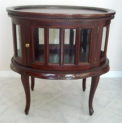 MAHOGANY CHOCOLATE OVAL CURIO VITRINE DISPLAY TEA TABLE