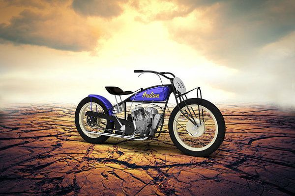 Indian Motorcycle Print featuring the digital art Indian Flat Track Racer 1928 - Desert by Aged Pixel