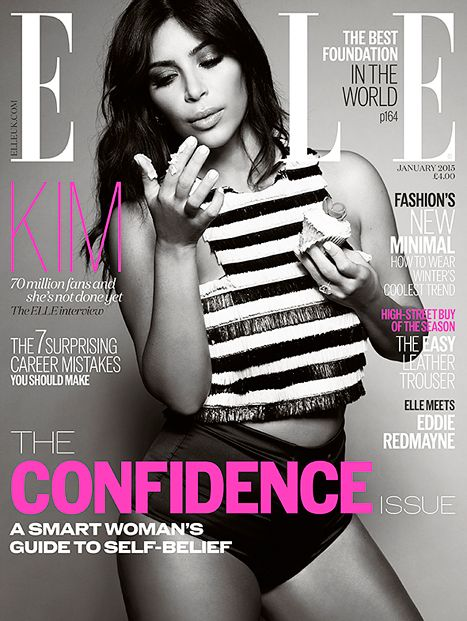 Kim Kardashian Bares Abs, Eats Cupcake on Elle UK's Confidence Issue - Us Weekly