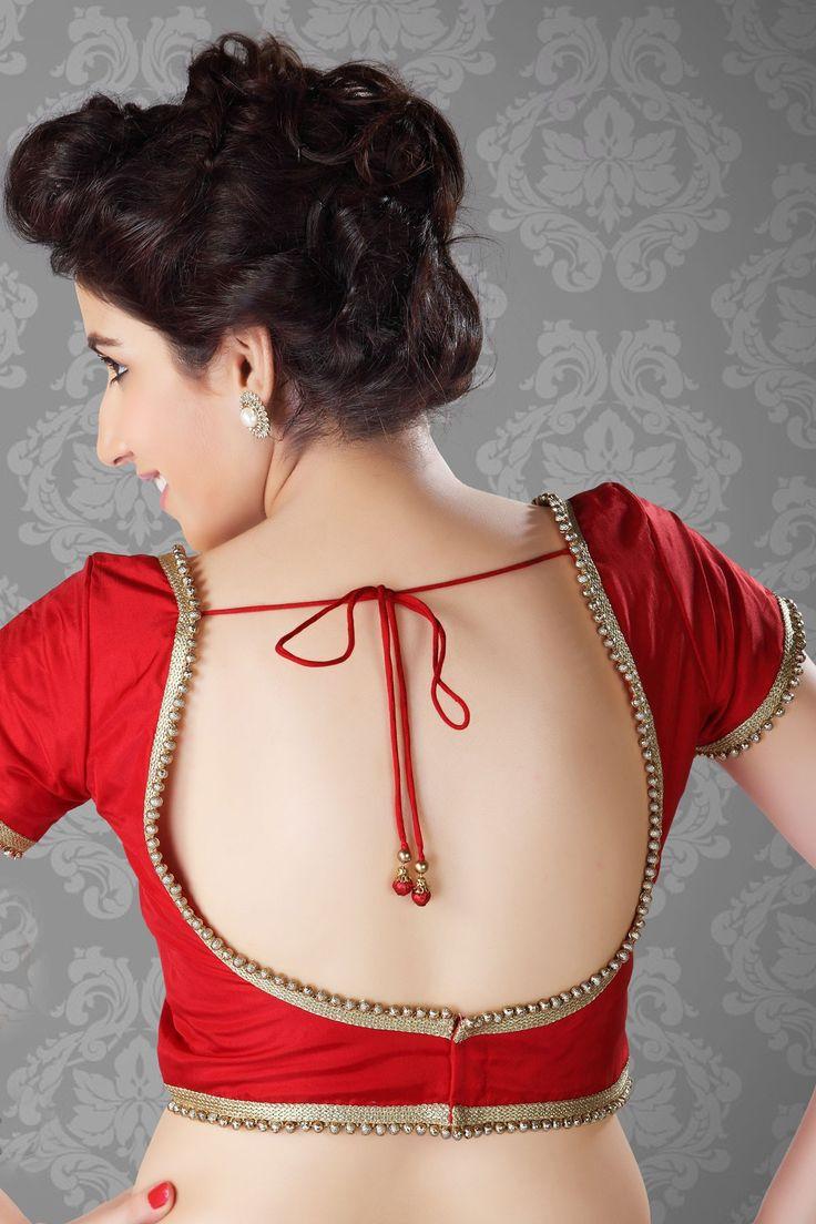 #Trendy #Red Self Designed raw silk #Blouse - BL389