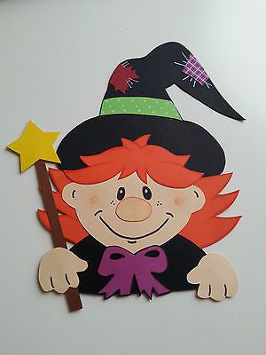 Fensterbild Tonkarton boszorkány Halloween őszi dekoráció őszi dekoráció