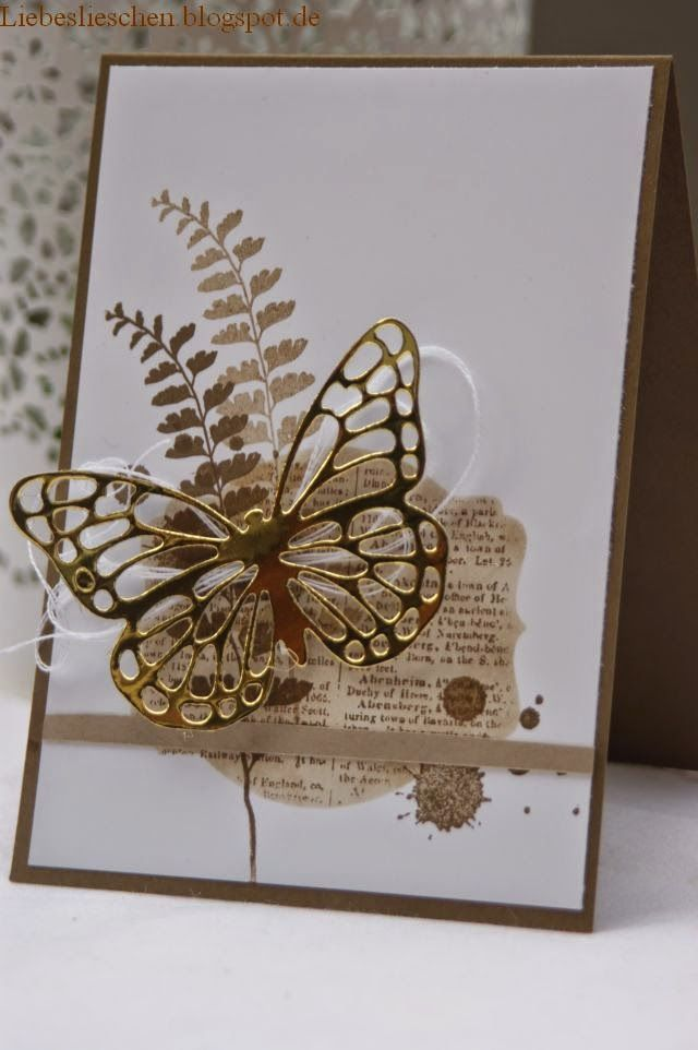 love the gold butterfly on neutral colors