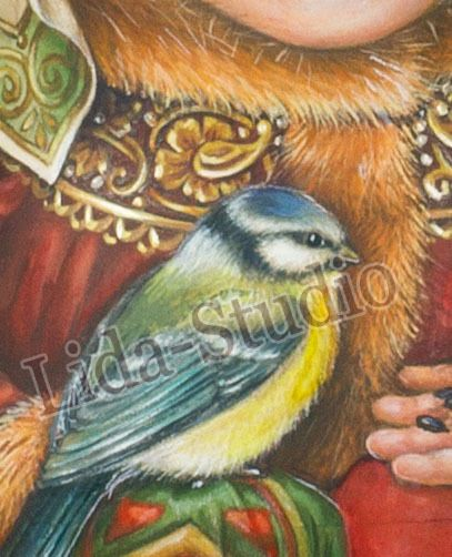 """RolyPoly. 13cm. """"Russian Old Noble Dress and Blue Tit"""" by """"Lida-Studio"""" in Spielzeug, Puppen & Zubehör, Holzpuppen   eBay"""