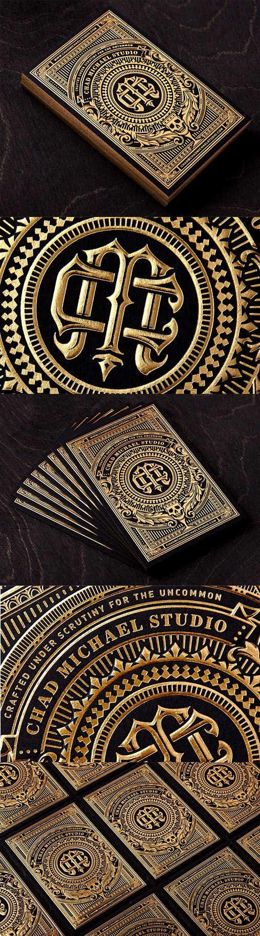 Incredibly Intricate Black And Gold Hot Foil Stamped Business Card For A Designer: