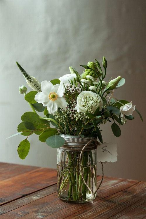 Simple, white, in a mason jar