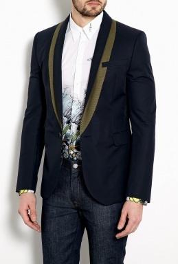McQ Alexander McQueen Navy Cotton Tuxedo Blazer