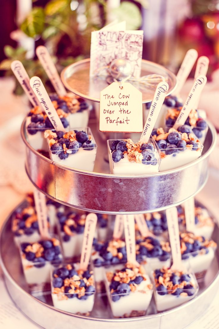 """girl book brunch baby shower food fruit parfaits custom """"Once upon a time"""" mini wooden spoons vintage shabby chic"""