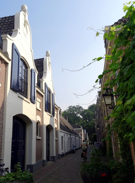 Alley with Dutch style gable houses in Utrecht