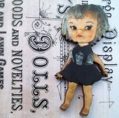 Ophelia - Wooden Doll Pin Brooch
