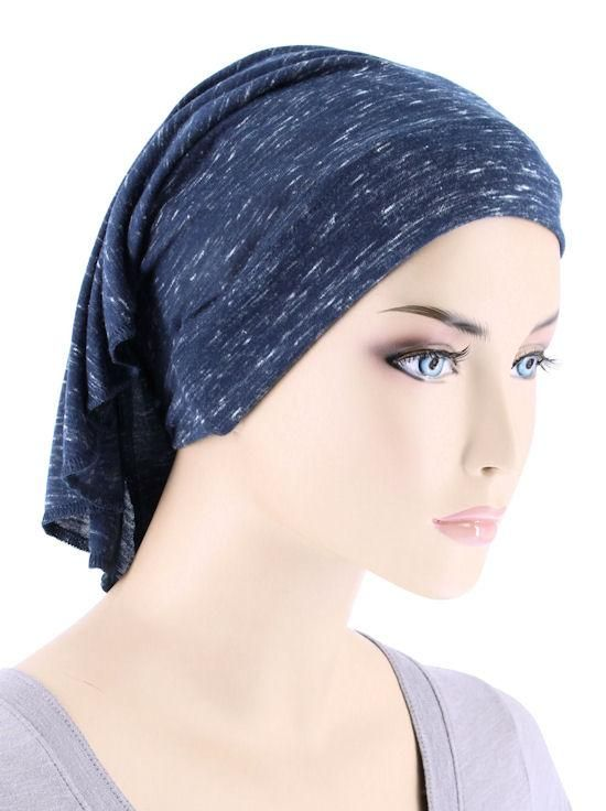 CE-BDNAWRAP-HEATHERNAVY#Bandana Wrap in Heather Navy Blue