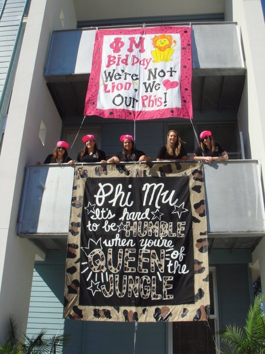 It's hard to be humble when you're queen of the jungle. :) Phi Mu Bid Day!