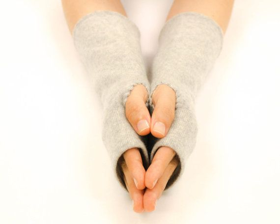 Cashmere Fingerless Gloves Arm Warmers Soft Texting Gloves