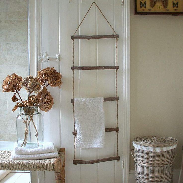 Wood and rope rustic towel rack