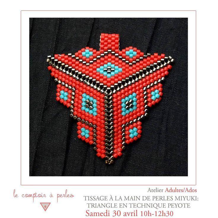 ATELIER - Encore quelques places disponibles pour l'atelier de samedi consacré au fameux triangle  Peyote! A ne pas manquer! Réservez votre place via le lien dans la bio   A samedi!! #lecomptoiraperles #perles #atelier #peyote #Miyuki #Miyukibeads #beads #Delica #tissage #loom #triangle #loombeading #tissageperles #atelier #workshop #faitmain #handmade #handmadejewelry #beading #rouge #red #creation #bijoux #instajewels #creativity #créativité #jenfiledesperlesetjassume