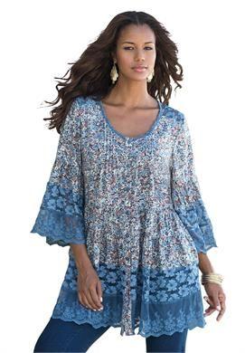 Plus Size Illusion Lace Bigshirt