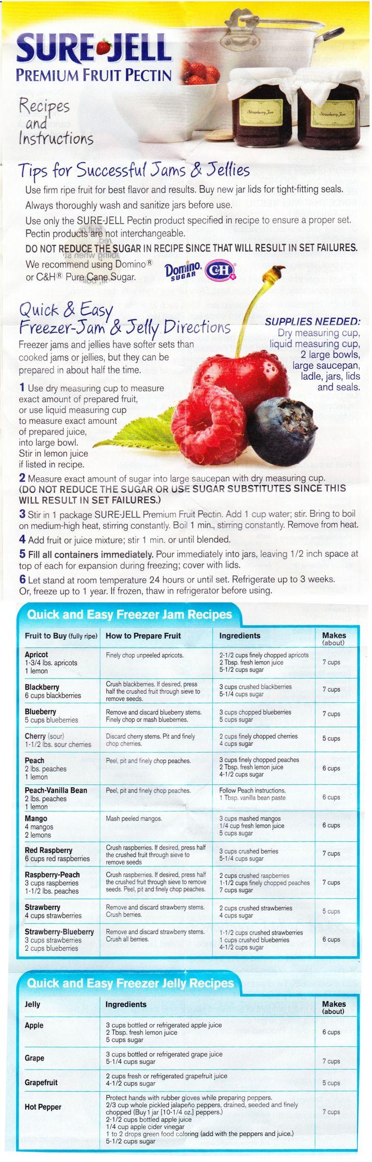 How to make jam with Sure Jell Pectin. Apricot, Blackberry, Blueberry, Cherry, Peach, Peach-Vanilla Bean, Mango, Red Raspberry, Raspberry-Peach, Strawberry, Strawberry-Blueberry