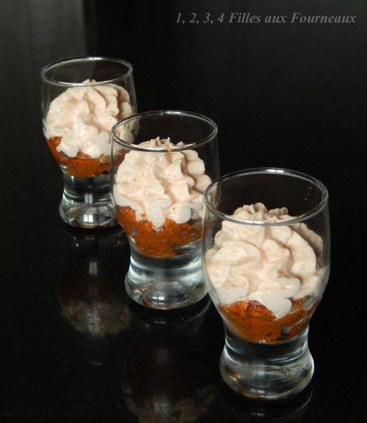 Chantilly de jambon sur mousse de pesto rosso