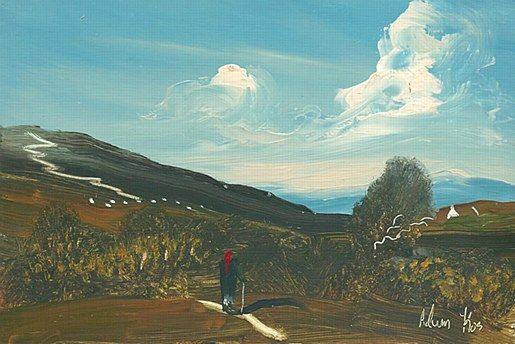 Adam Kos-Through the Thorns  #art #painting #Westmeath #path #road #cottage #Ireland #DukeStreetGallery