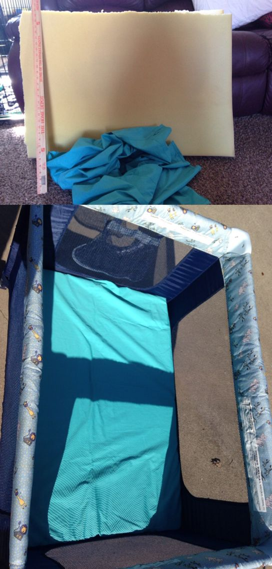 Recycled a memory foam mattress topper. Cut to fit pack n play. Recycled a old sheet and Made a giant pillow case for it! Every baby knows those pack n plays are very uncomfortable! Now my baby can sleep well and comfortable.