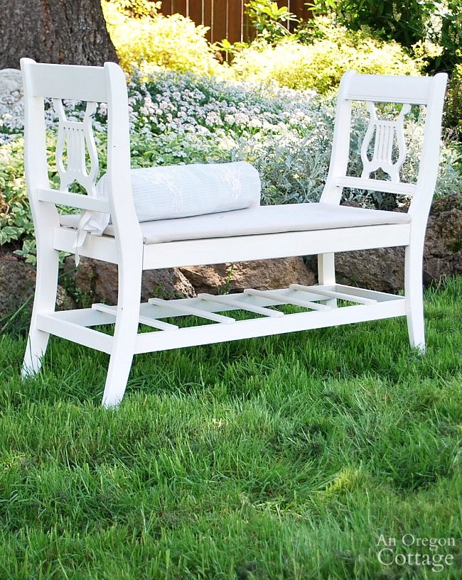 Upcycle broken furniture by making a classic European style bench from old chairs that's perfect for your entry, dining room or foot of your bed.