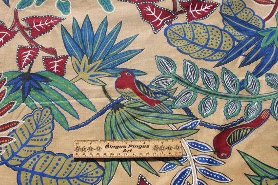 Vintage loro aves algodón tela verano Tropical isla hawaiana Cabana, yardas 2
