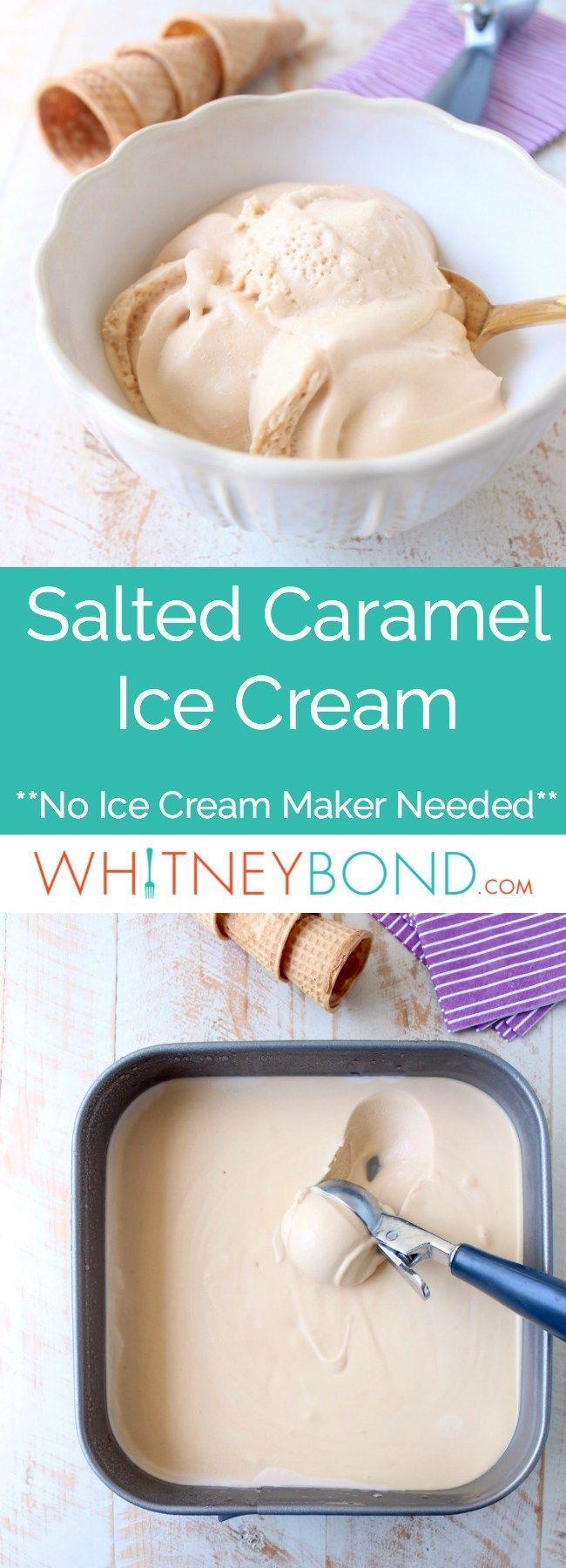 Esta receta de helado de caramelo salado sin manteca está hecha sin una máquina de helados …   – Ice cream