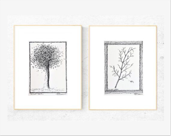2 X Original Art Tree Leaves Pen Drawings Each On Paper Size