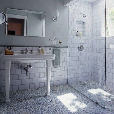 Achieve This Unique Bathroom Flooring Look By Using Our River Pebble Mosaic  Tiles. With Seven