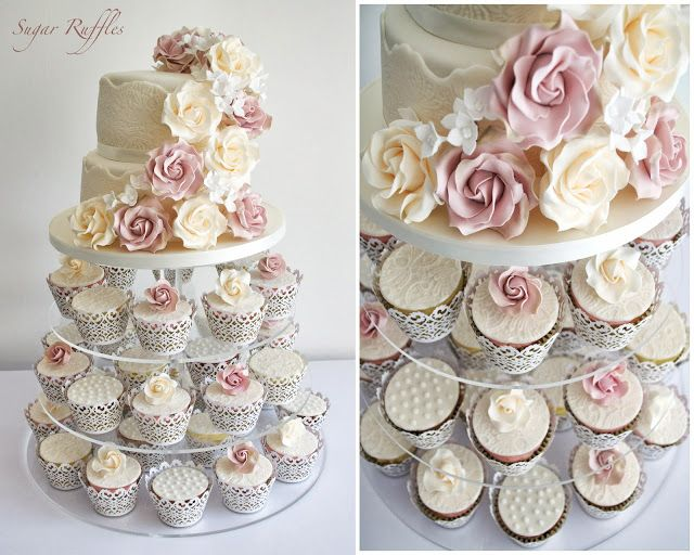 Сахар оборками, Элегантные свадебные торты. Барроу-ин-Фернесс и Озерный край, Камбрия: Винтажные розы и кружево свадебное Cupcake Башня-