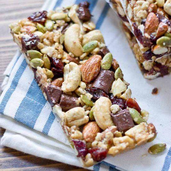 Tart Cherry, Dark Chocolate & Cashew Granola Bars. These snack bars are sweet, tart, salty, crunchy, healthy, yummy, and easy to make!
