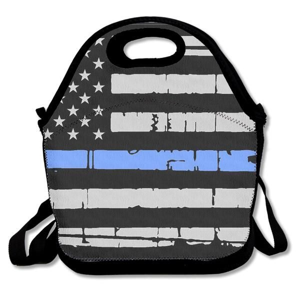 3D Print Thin Blue Line American Flag Lunch Bags Insulated Waterproof  3D Print Thin Blue Line American Flag Lunch Bags Insulated Waterproof Thin Blue Line Flag Lunch Bag Is Perfect For Any Setting Where Food Is Required. Travel Sa...