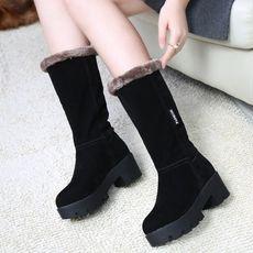 2016冬季防滑厚底雪地靴女中筒靴加绒保暖棉靴冬靴女鞋真皮女靴子